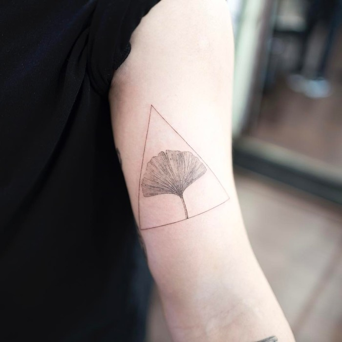 Delicate Ginkgo Leaf Tattoo in Triangle by ilwolhongdam