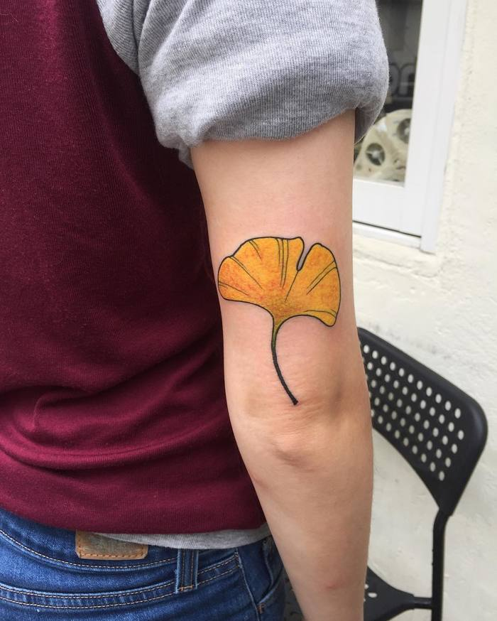 Yellow Ginkgo Leaf Tattoo by starcrossedtattoo