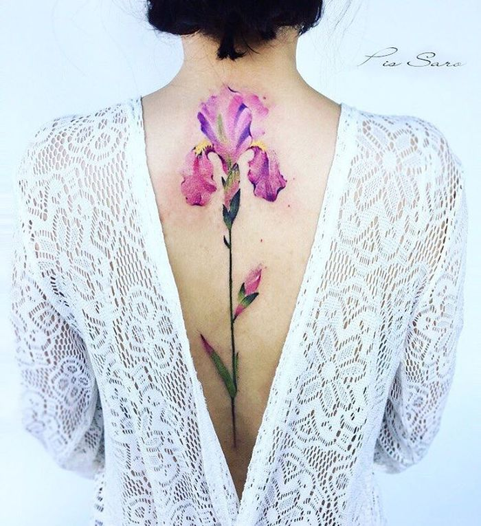 Watercolor Iris Flower Tattoo by Pis Saro