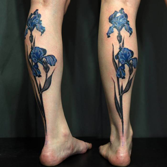Iris Flower Tattoos on Legs by ovtattoo