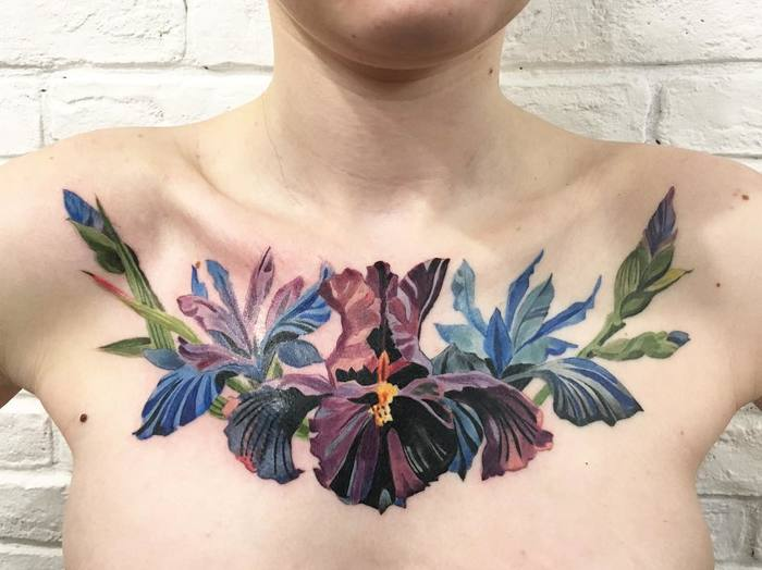 Multicolored Iris Flowers on Chest by rit.kit.tattoo