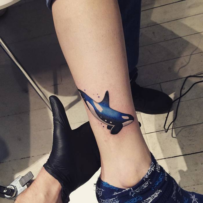 Blue Ink Killer Whale Tattoo by newkidtattooist