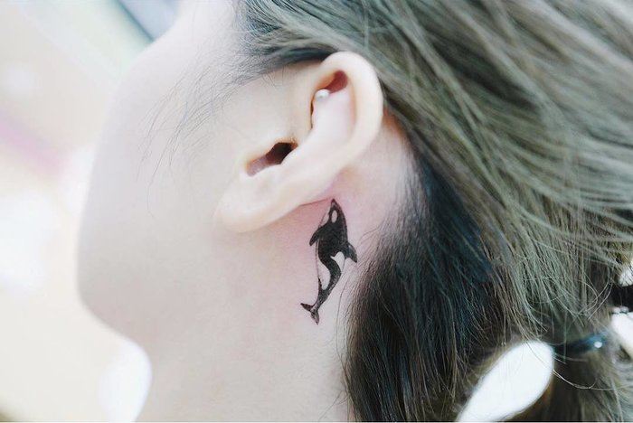 Killer Whale Tattoo Behind the Ear by tattooist_banul