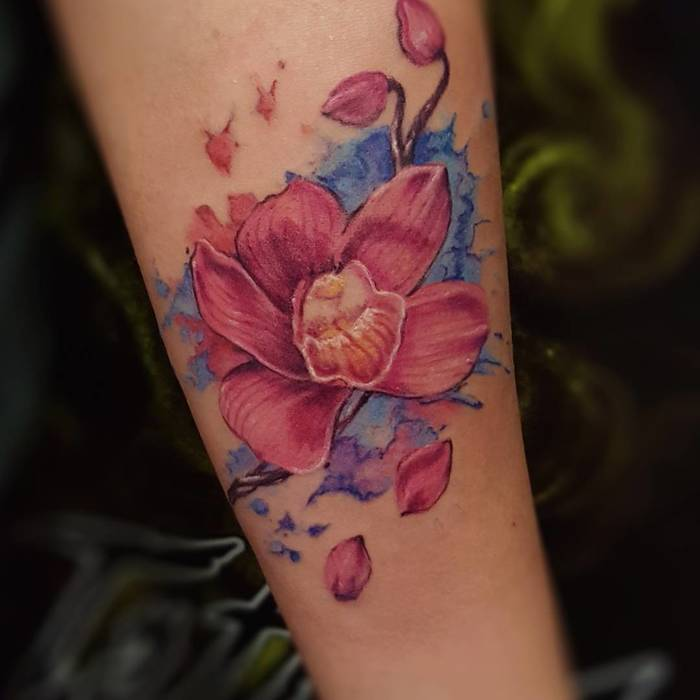 Pink Orchid Tattoo by pachamamatattoo_alex