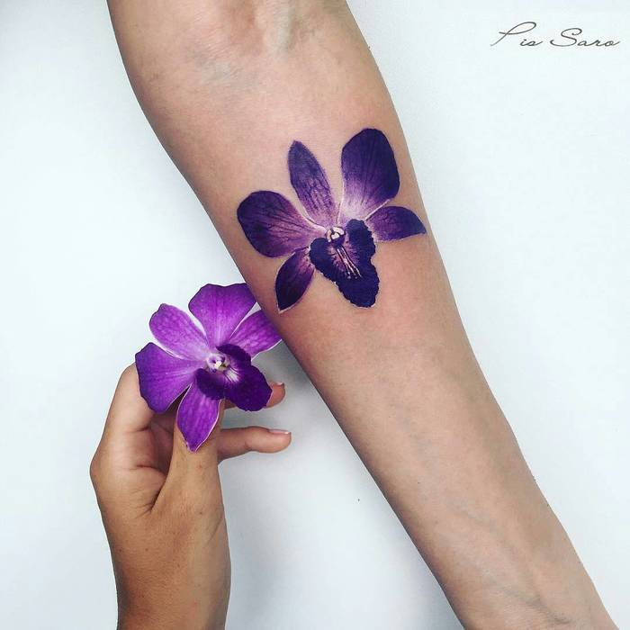 Purple Orchid Tattoo by pissaro