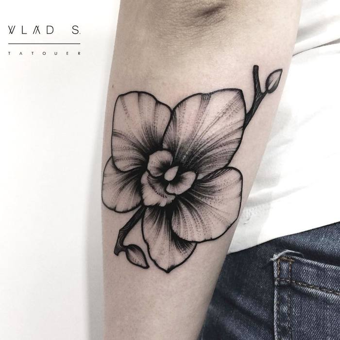 Black Ink Orchid Tattoo by vladtatouer