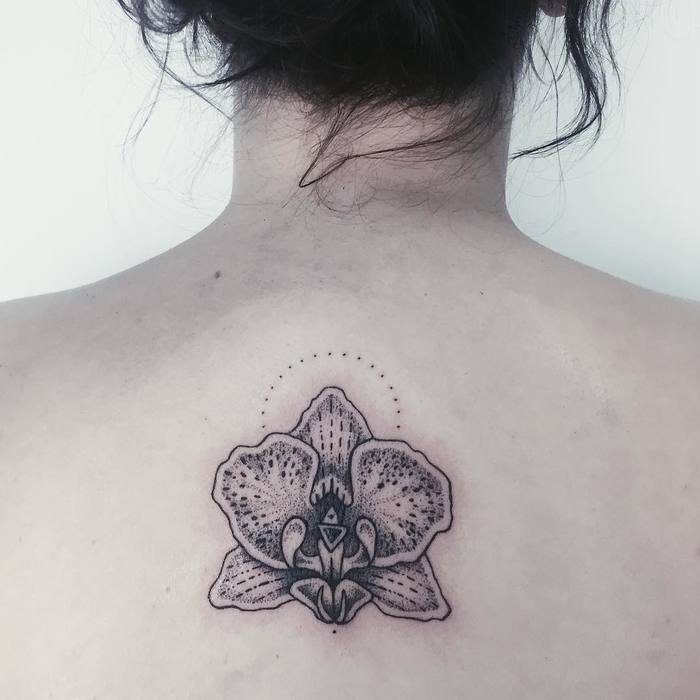 Dotwork Orchid Tattoo by reh.ink