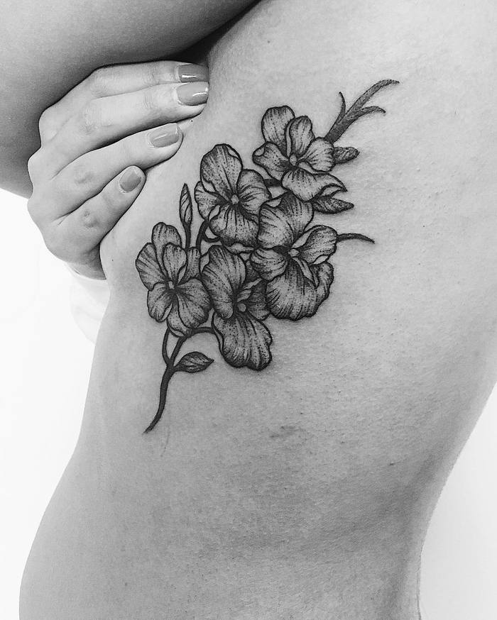 Blackwork Orchid Tattoo by noogintattoo