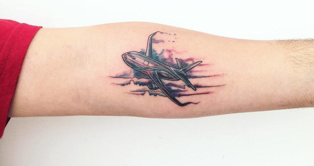 34 Perfect Airplane Tattoo Designs For Travel Lovers