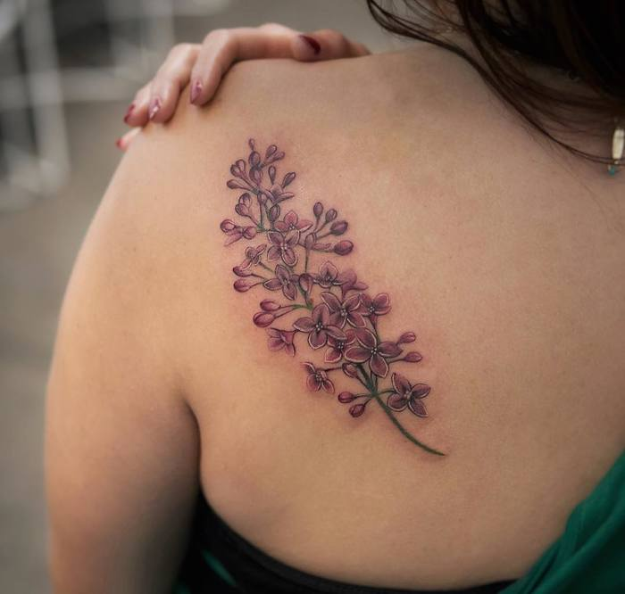 Purple Lilac Tattoo by joicewang.nyc