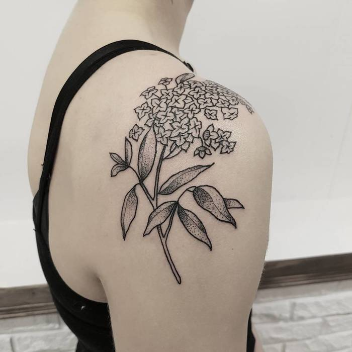Dotwork Lilac Tattoo by katgomboc
