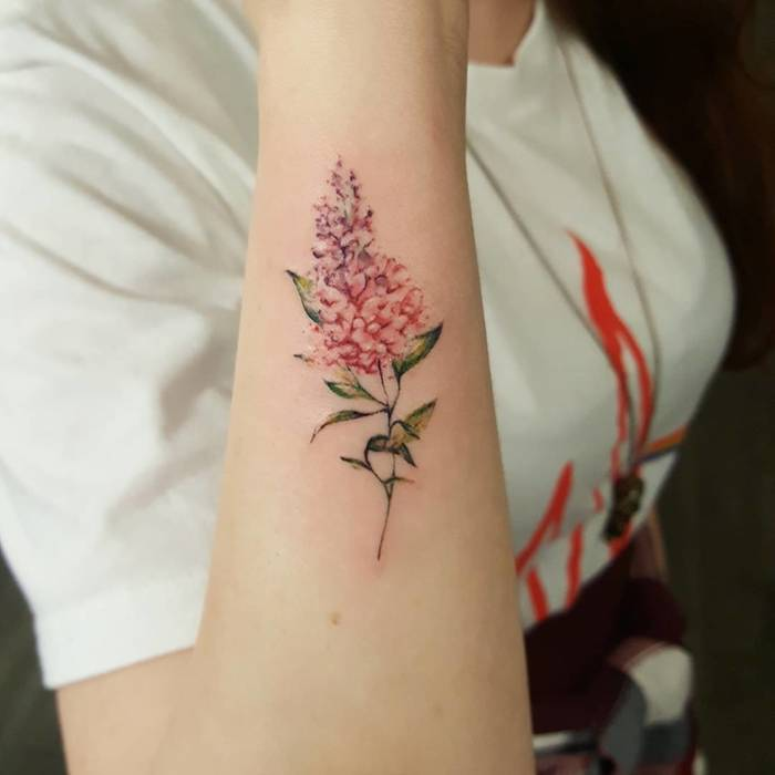 Multicolored Lilac Tattoo by amberrobyntattoos