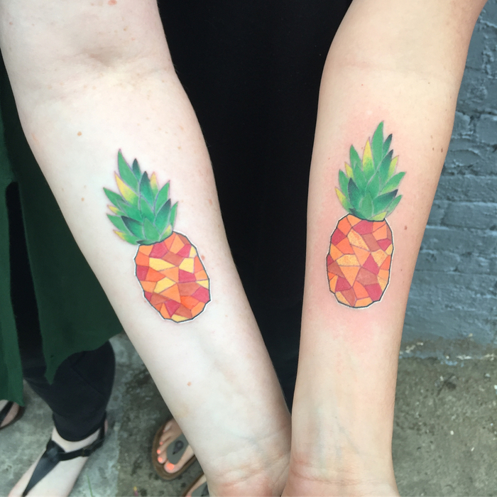 Matching Pineapple Tattoos by tattoosbyanna
