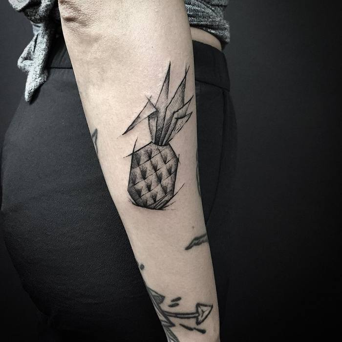 Sketch Style Pineapple Tattoo by burakmoreno