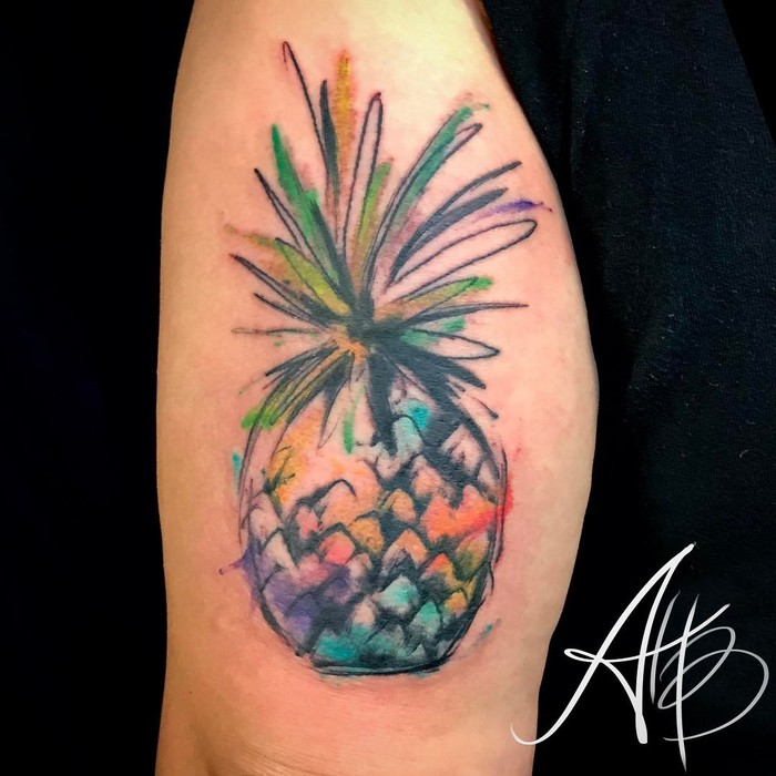 Watercolor Abstract Pineapple Tattoo by inkbyaballar