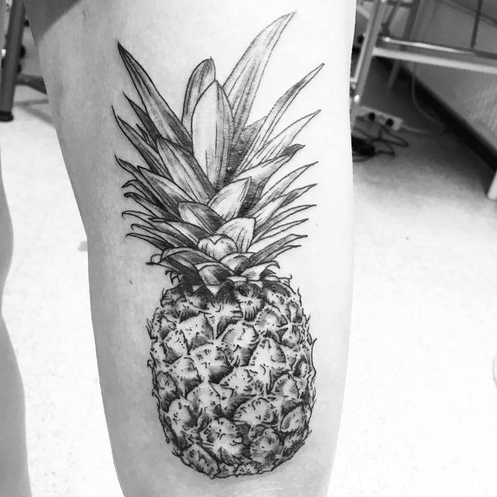 Black and Grey Pineapple Tattoo by silkinkdustries