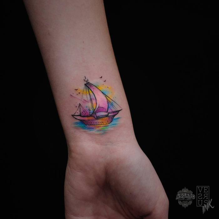 Little Colored Ship Tattoo by versusink