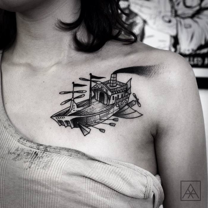 Blackwork Flying Ship Tattoo by maxvorax