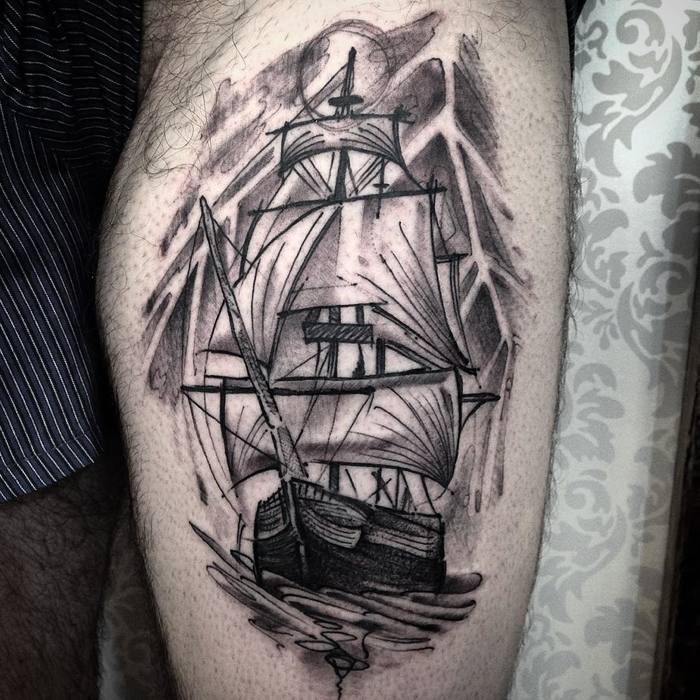 Sailing Ship Tattoo by junnionunes