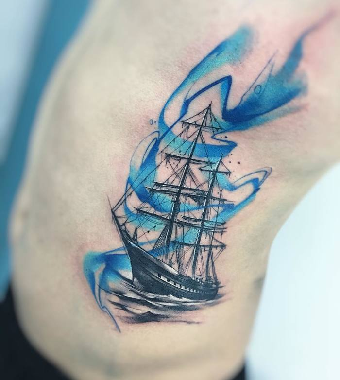 Watercolor Pirate Ship Tattoo by adrianbascur