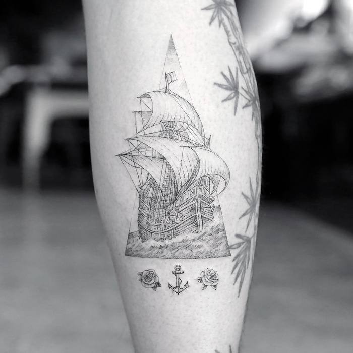 Fine Lines Ship Tattoo by mr.k_tattoo