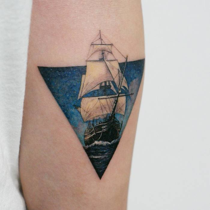 Sailing Ship Tattoo by tattooist_doy