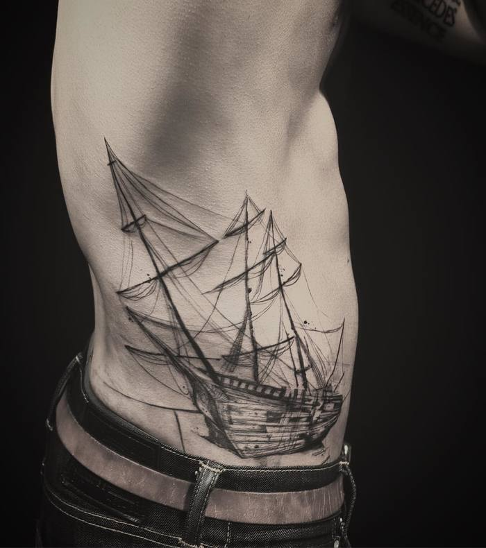 Ship Tattoo by tattooer_nadi