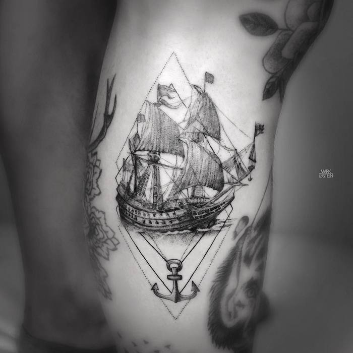 Antique Ship Tattoo by mark_ostein
