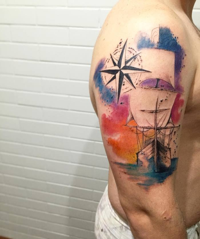Watercolor Ship Tattoo by lcjuniortattoo