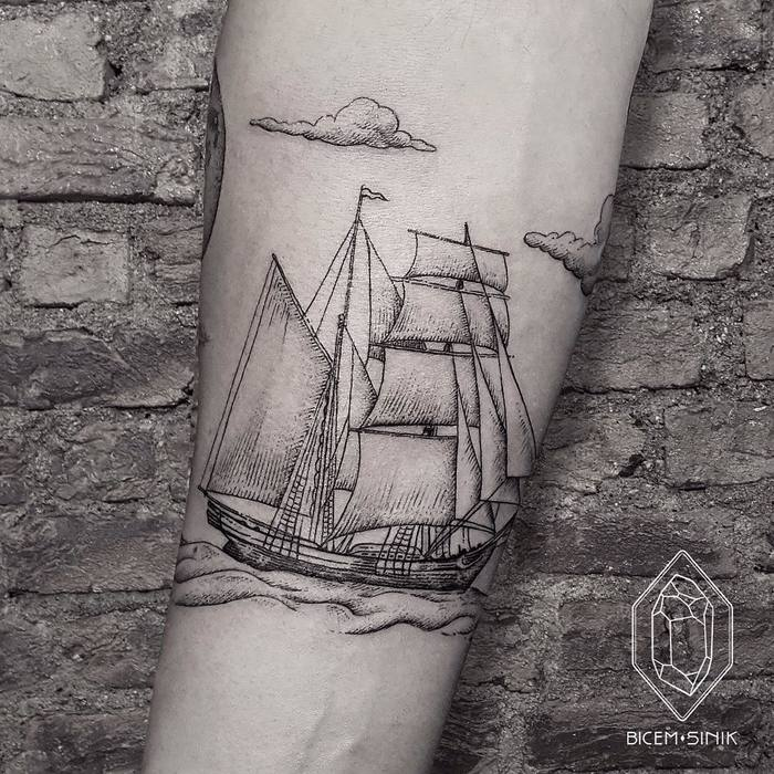 Splendid Ship Tattoo by bicemsinik