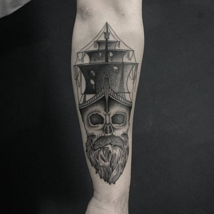 Dotwork Pirate Ship Tattoo by fiend_owned
