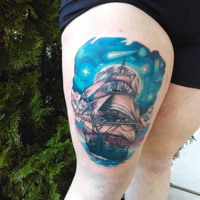 Colored Ship Tattoo by klwtattoos