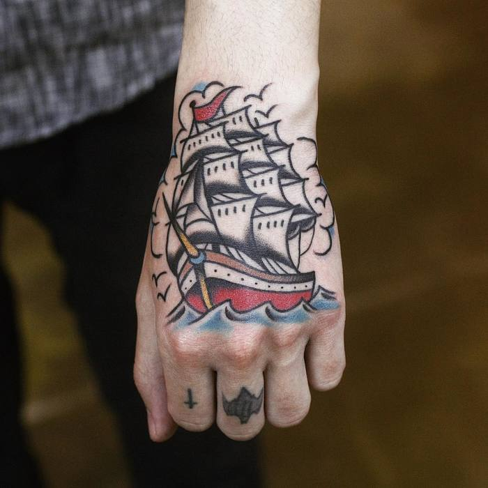 Traditional Ship Tattoo by hodintattooer