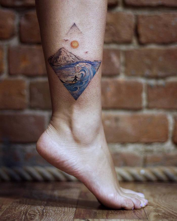Blue Waves and Landscape Tattoo by oeuvre_ink