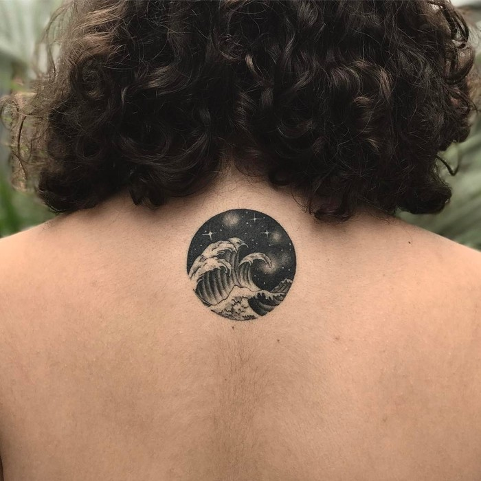 Waves and Starry Night Tattoo by samanthatattoo
