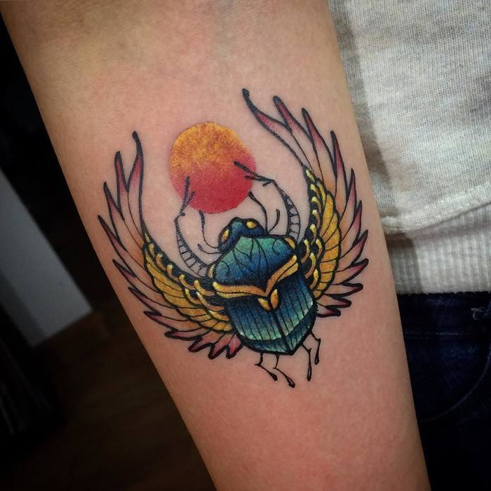 Scarab Beetle Tattoo by handmade_tattoo