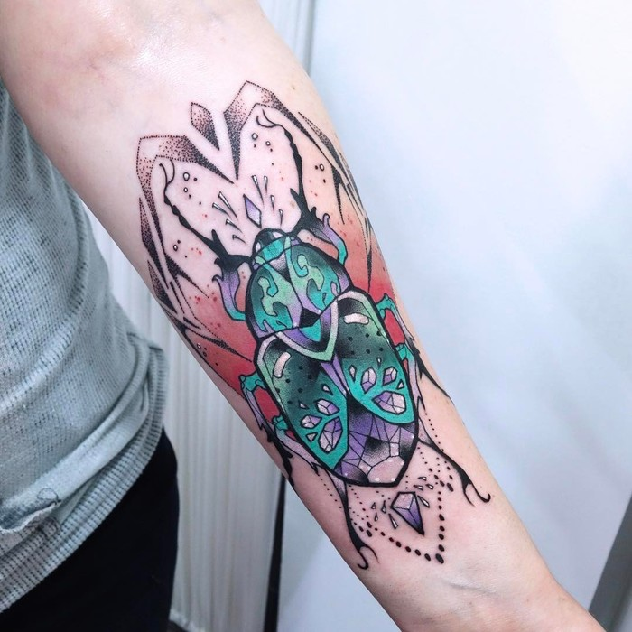 Beautifully Colored Beetle Tattoo by anaisallnt