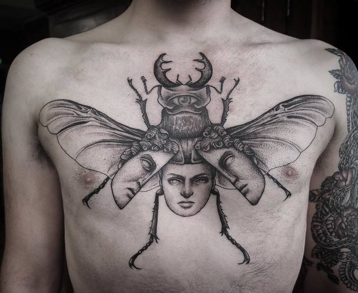Surreal Beetle Tattoo by annitamaslov