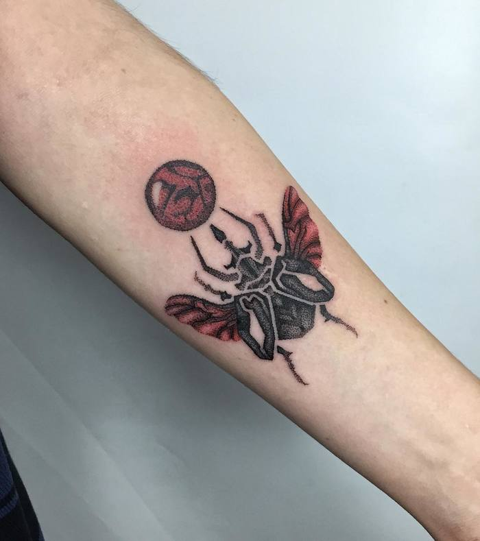 Dotwork Beetle Tattoo by sulutattoo