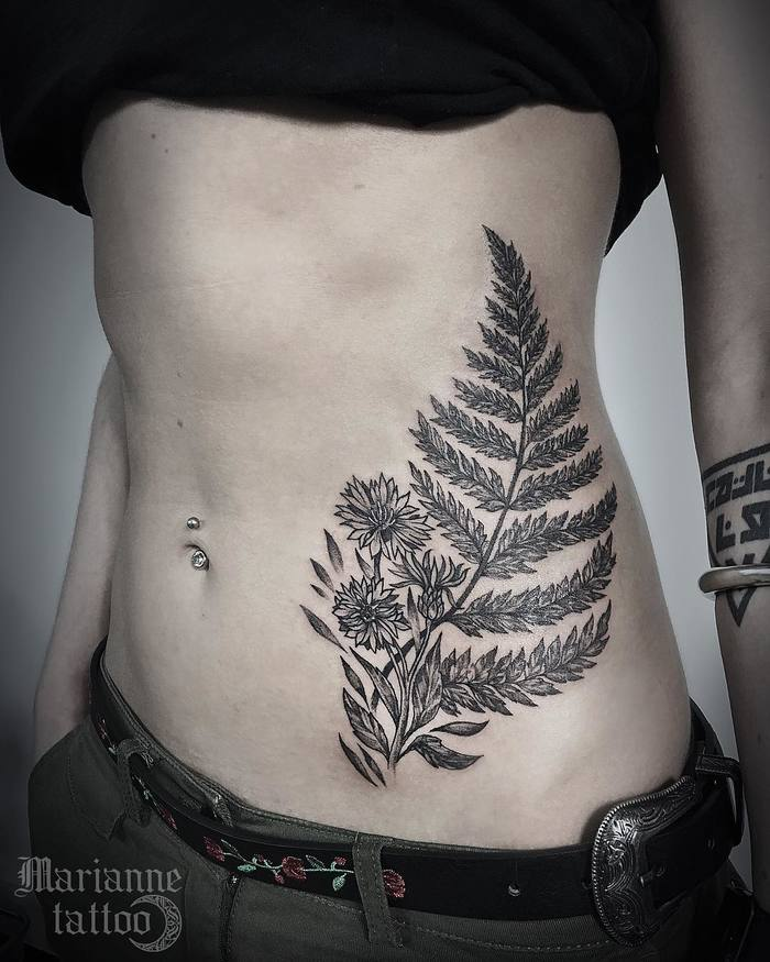 Fern Tattoo by dye_em_black