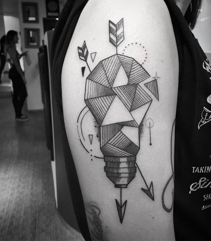 Geometric Light Bulb Tattoo by tohelltattoo