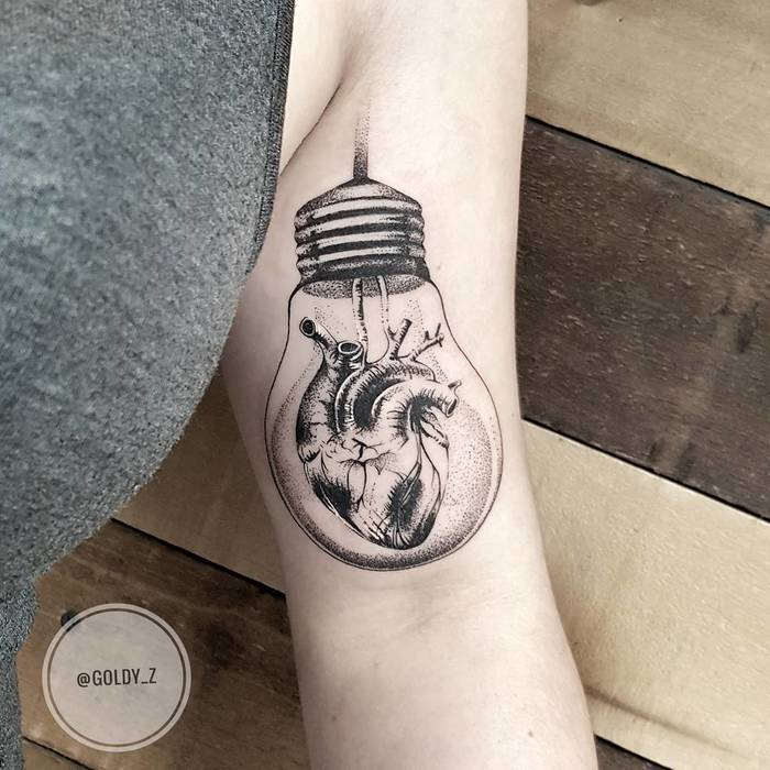 Dotwork Bulb Tattoo by goldy_z