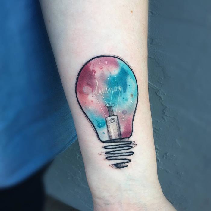 Watercolor Bulb Tattoo by blvckwvlf