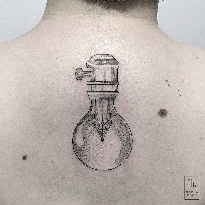 Linework and Dotwork Bulb Tattoo by marla_moon