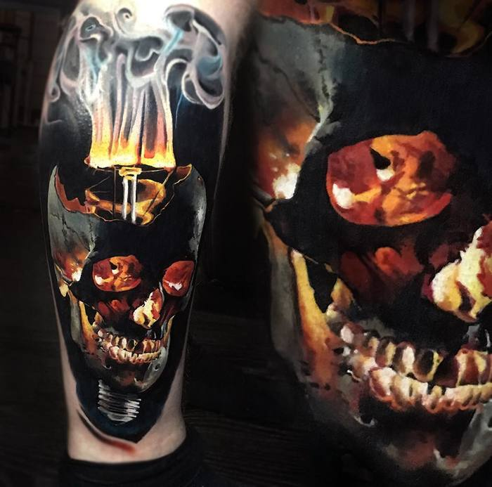 Light Bulb Skull by val_tatboo