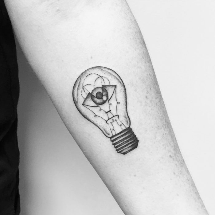 All Seeing Light Bulb Tattoo by emmabrosnanart