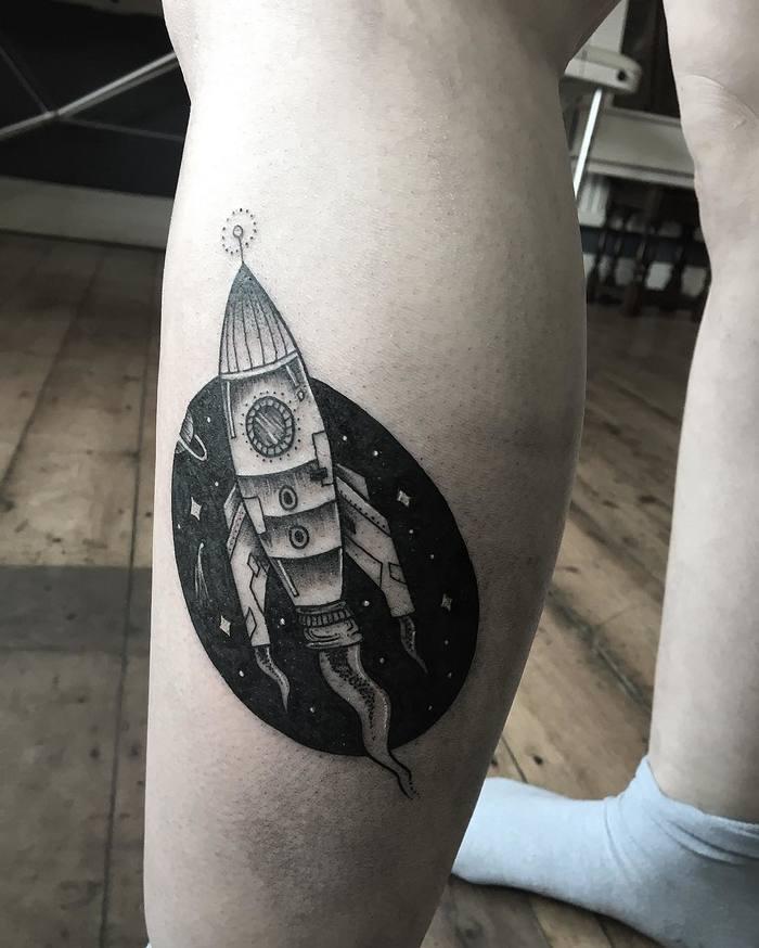 Blackwork Rocket Tattoo by sophieelizabethtattoo