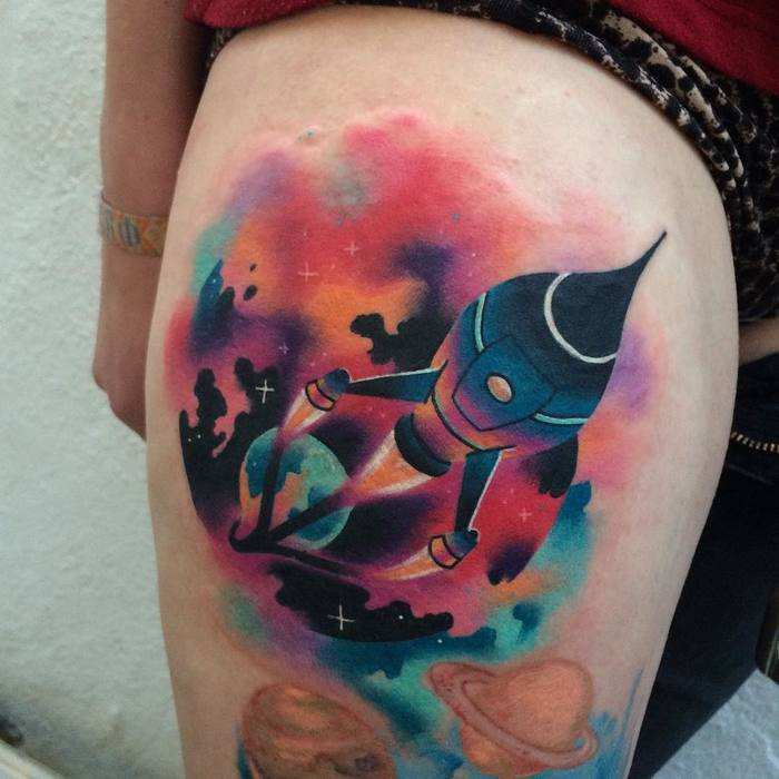 Space Rocket Tattoo by taktoboli