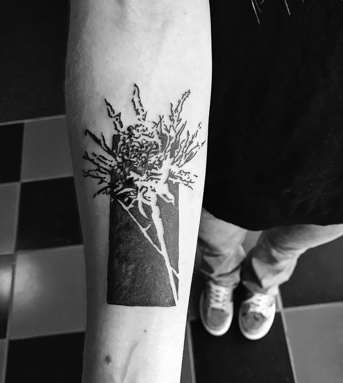 Negative Thistle Tattoo by tsviyah