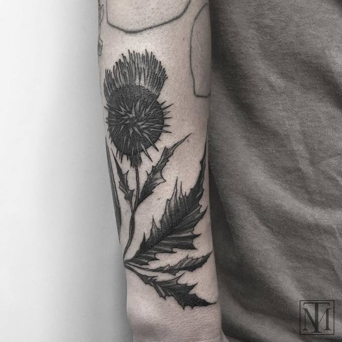 Blackwork Thistle Tattoo by marlonmtoney